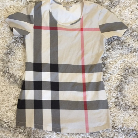 Burberry Tops - Burberry Check Front T-Shirt -Women s 76bf0057d4
